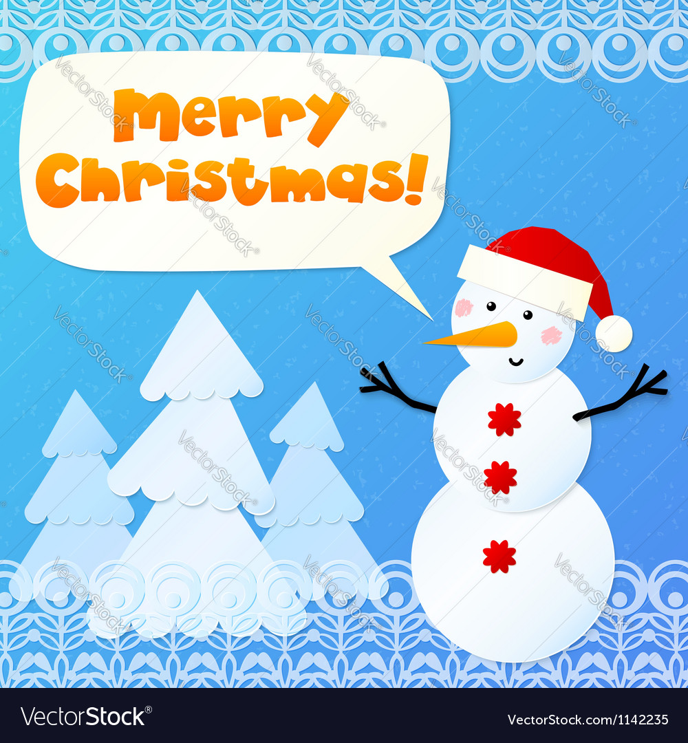 Paper snowman with sign Merry Christmas