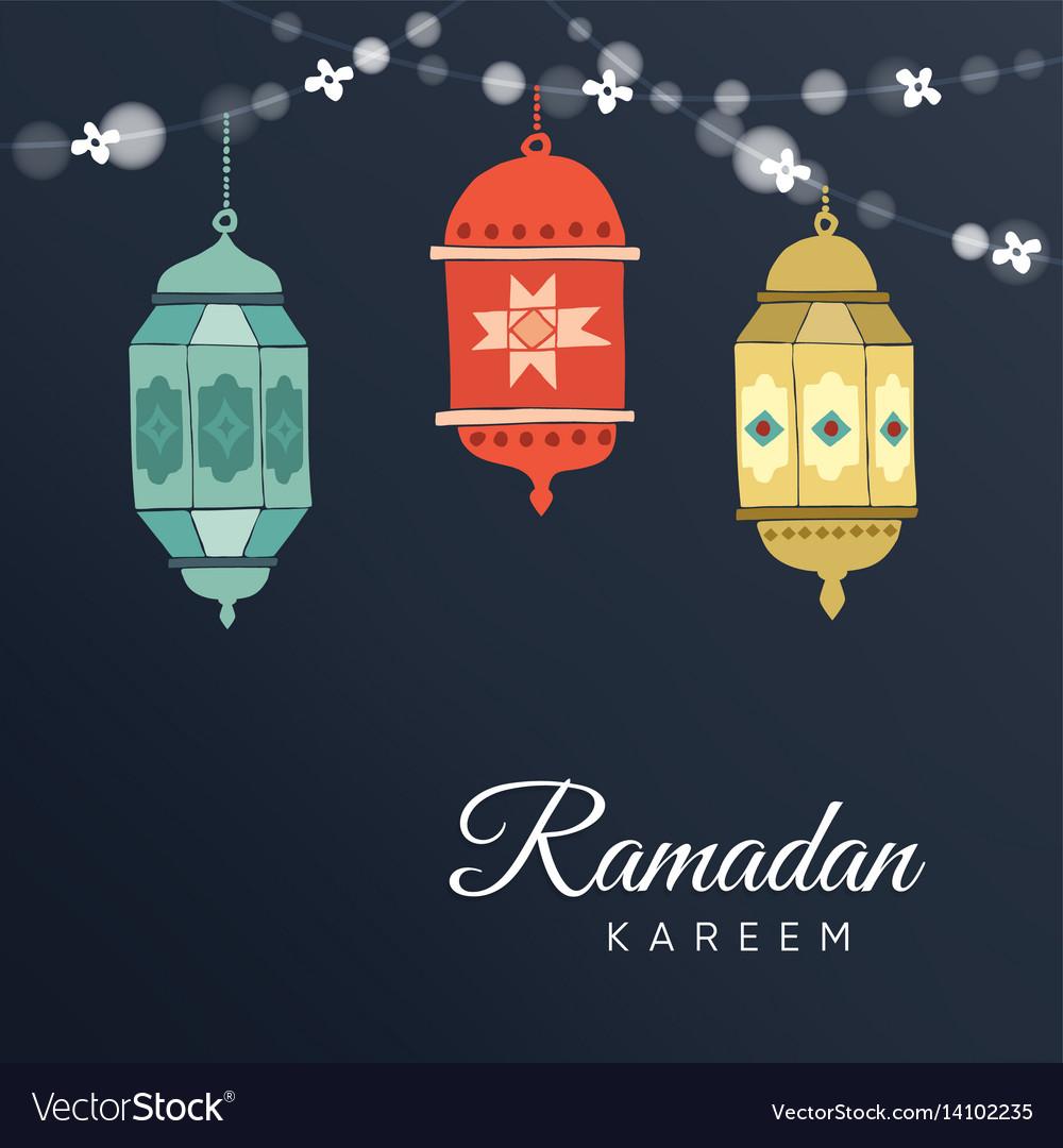 Ramadan hand drawn arabic lanterns with a string