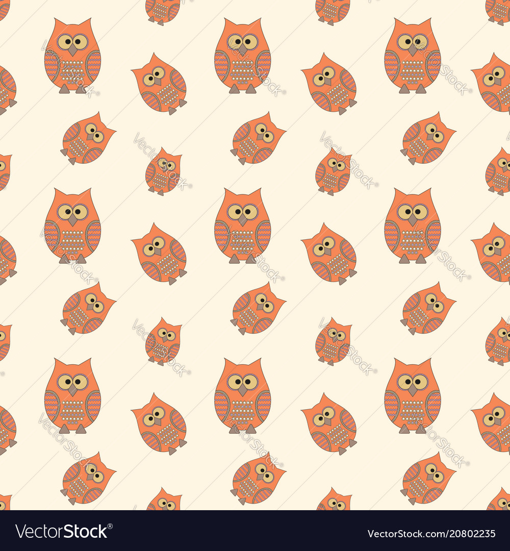 Seamless pattern with funny owls cartoon style