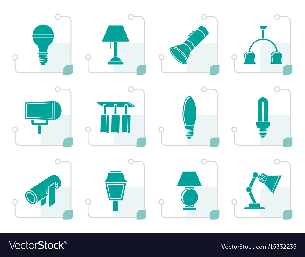 Stylized different kind of lighting equipment vector image
