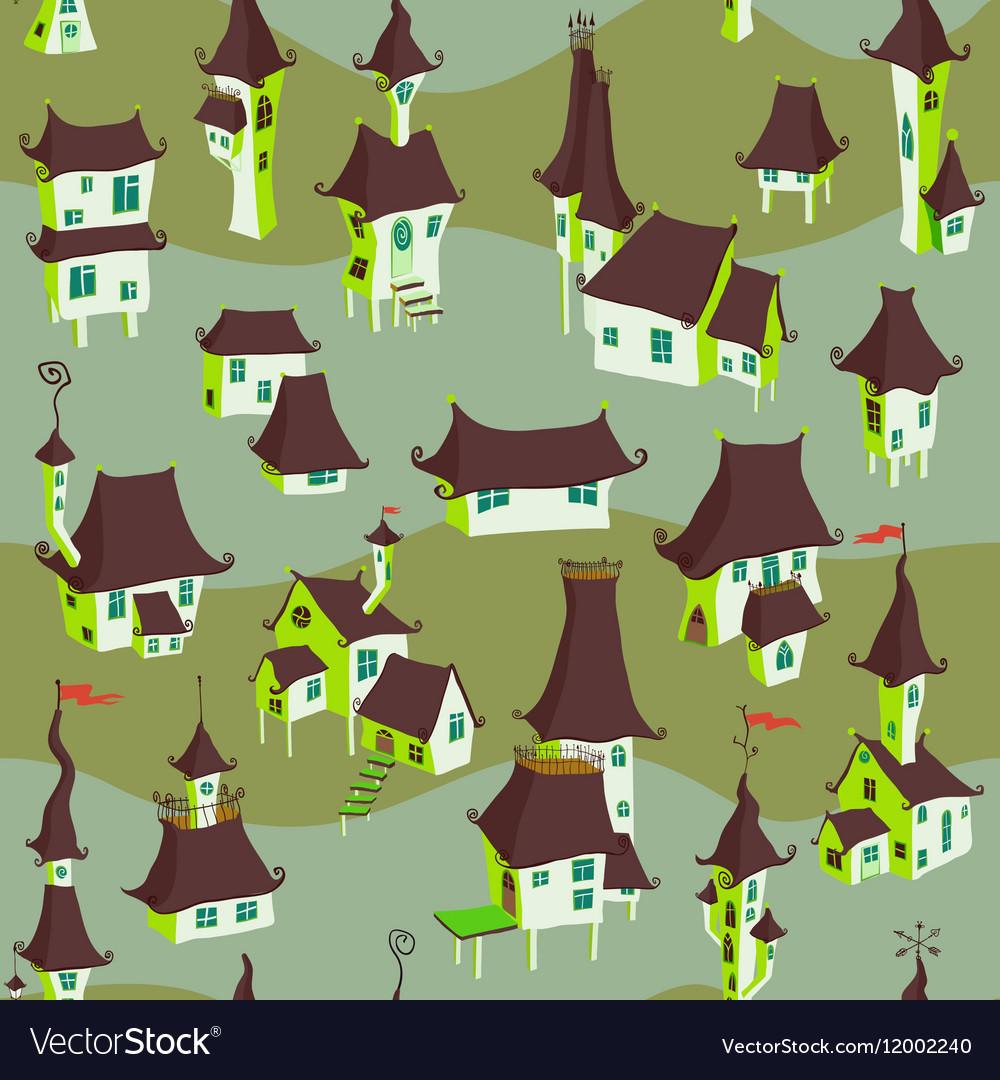 Cartoon old town seamless pattern