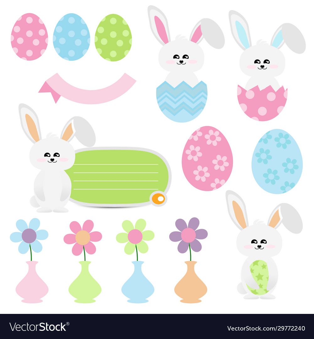 Cute easter cartoon on white background