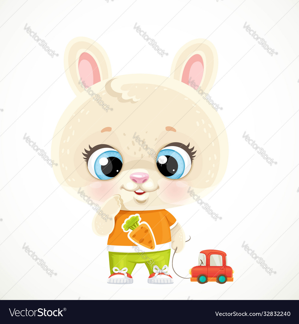 Cute little bunny boy playing with a red toy car