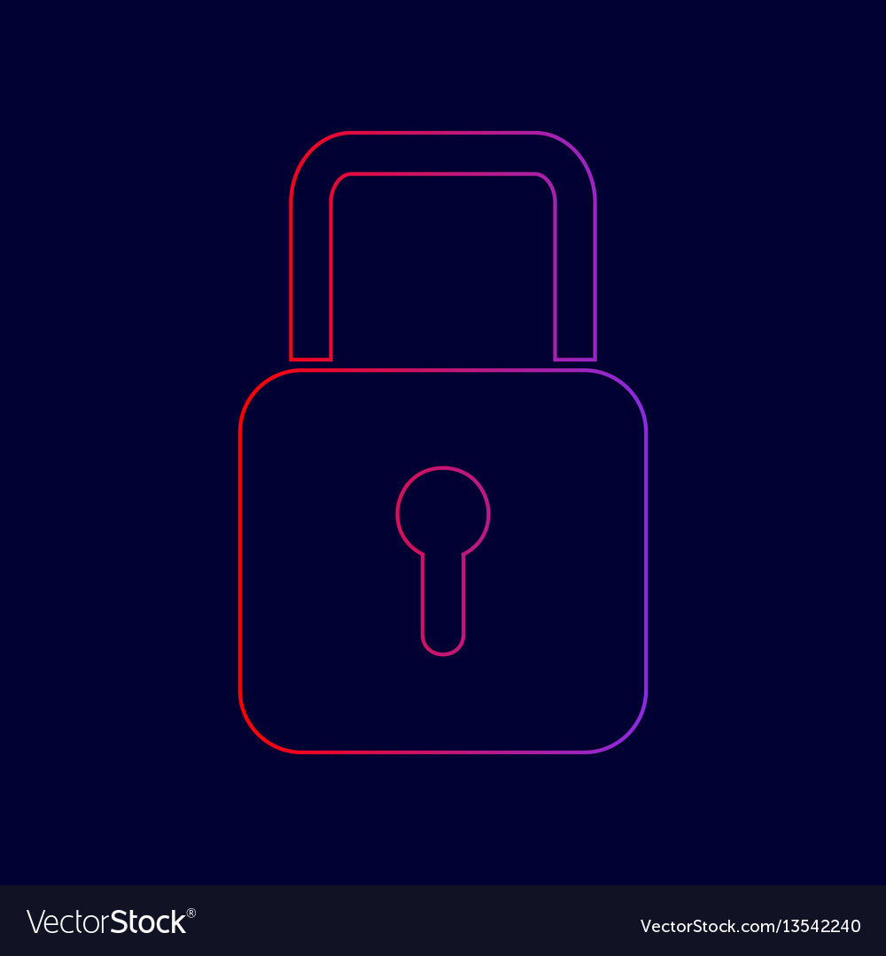 Lock sign line icon with