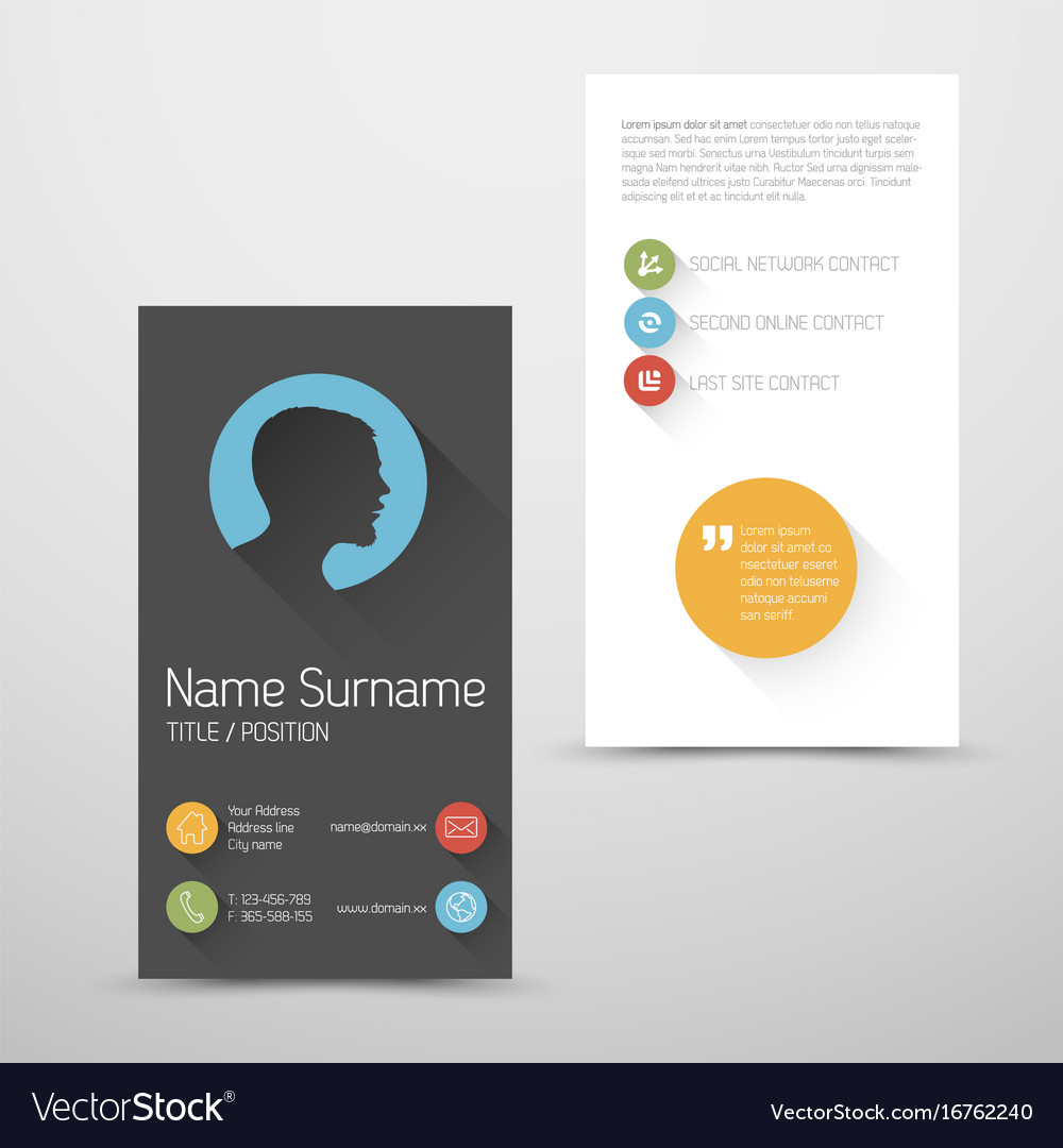 Modern vertical business card template with flat vector image flashek
