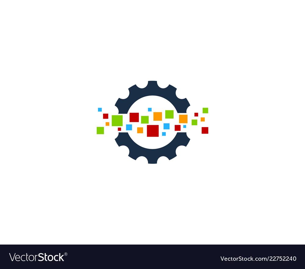 Pixel gear logo icon design