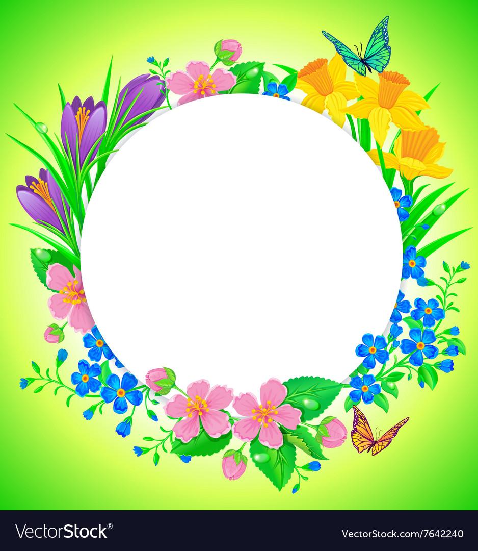 Round banner spring flower