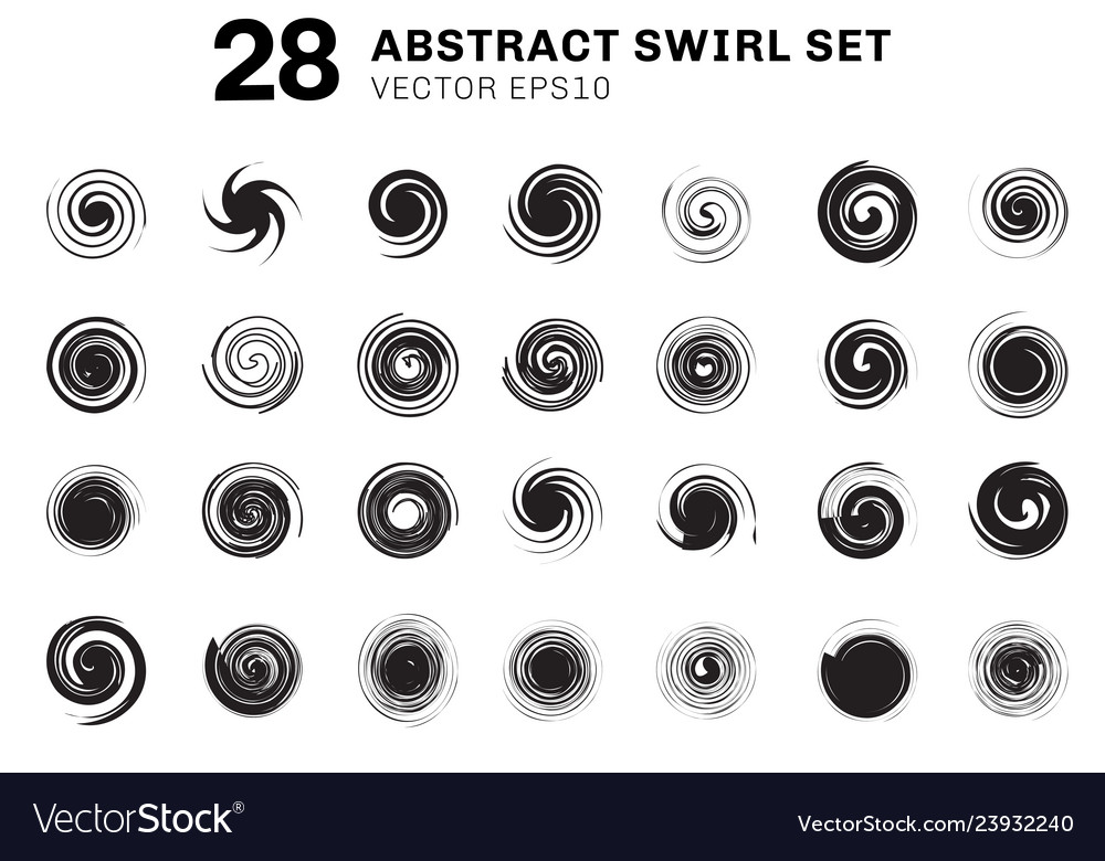 Set of abstract black spirals and swirl motion