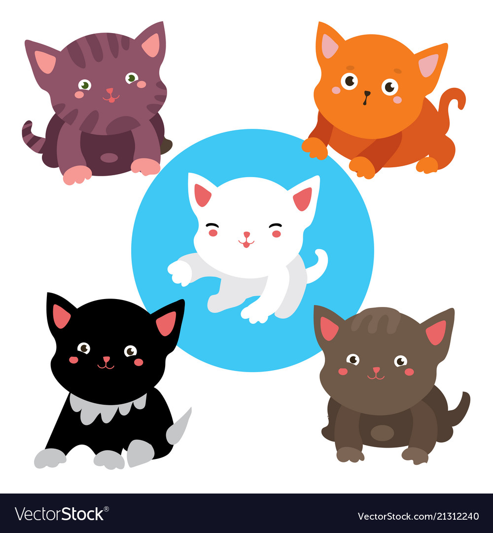 Set of cats cute collection of stickers of five