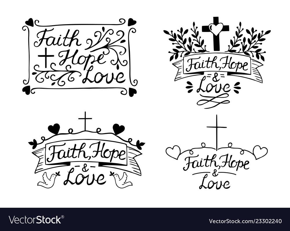 Set with 4 hand lettering inscription faith hope