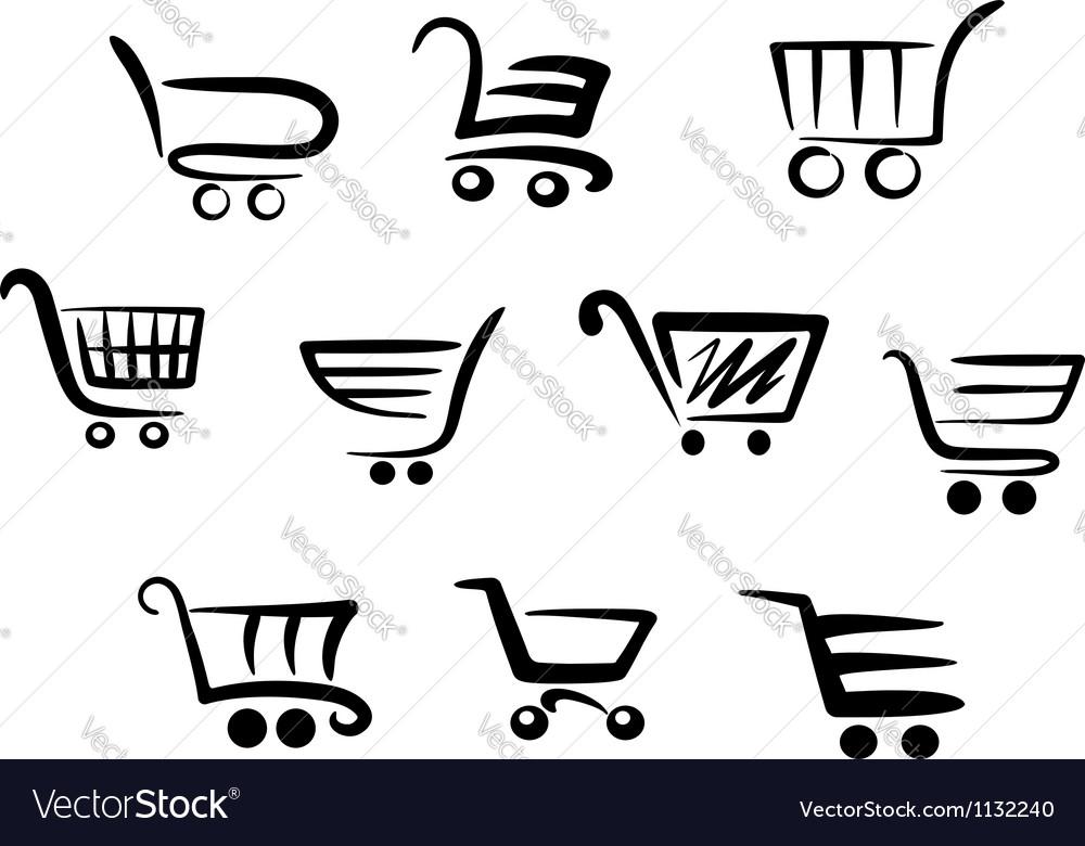 shopping cart icons royalty free vector image vectorstock