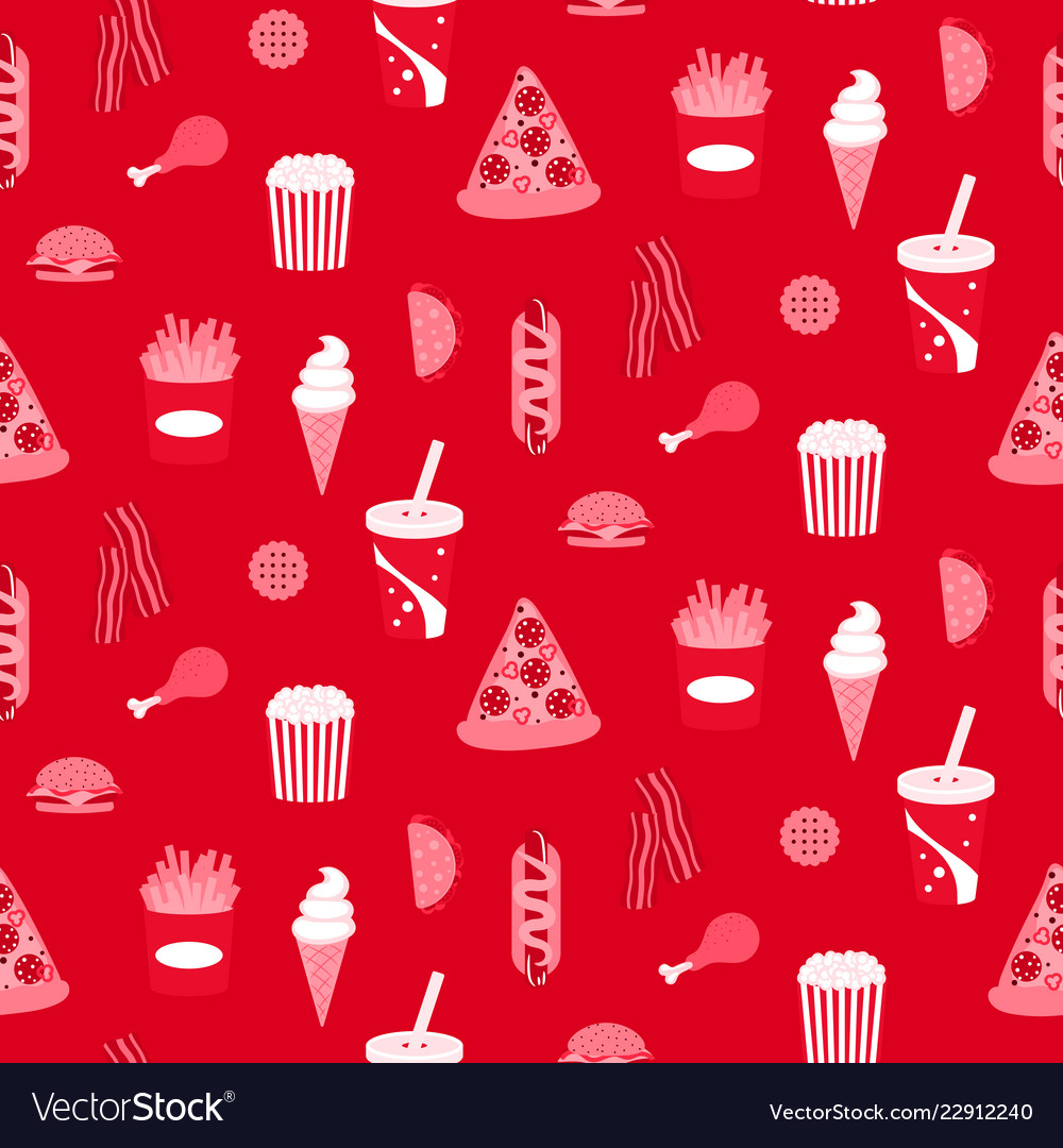 Street food seamless paper pattern background