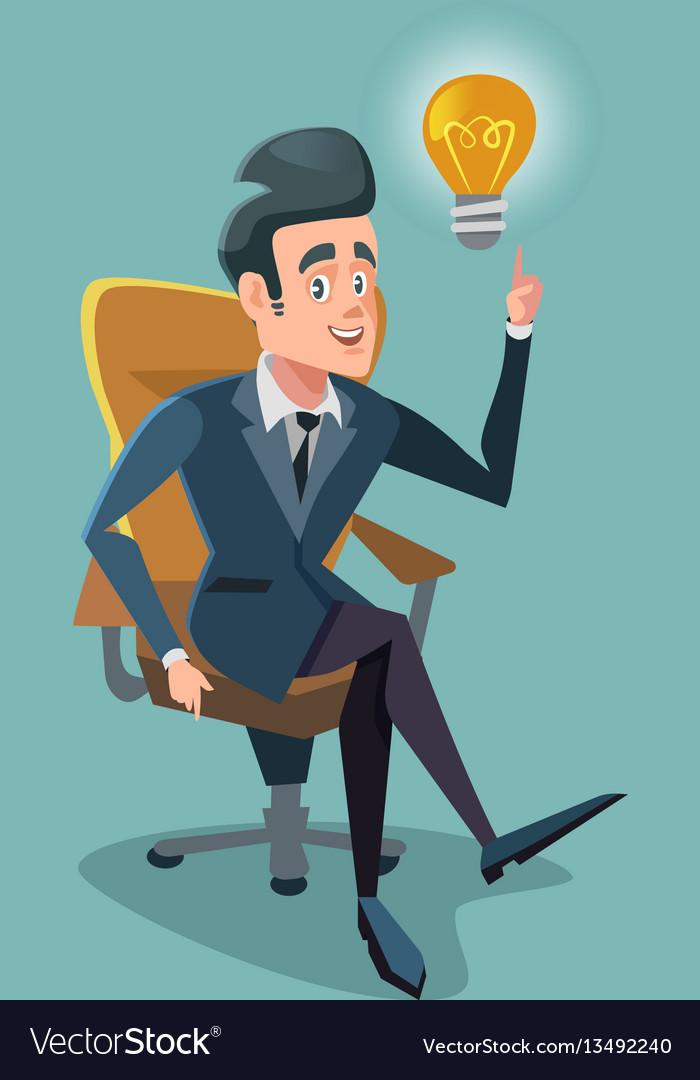 Successful Businessman Get The Idea Light Bulb Vector Image
