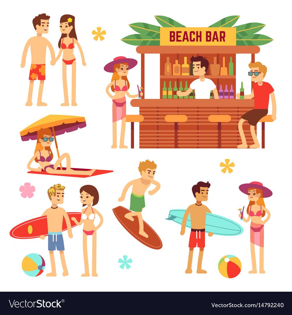 Sunbathing young people on beach fun couple on