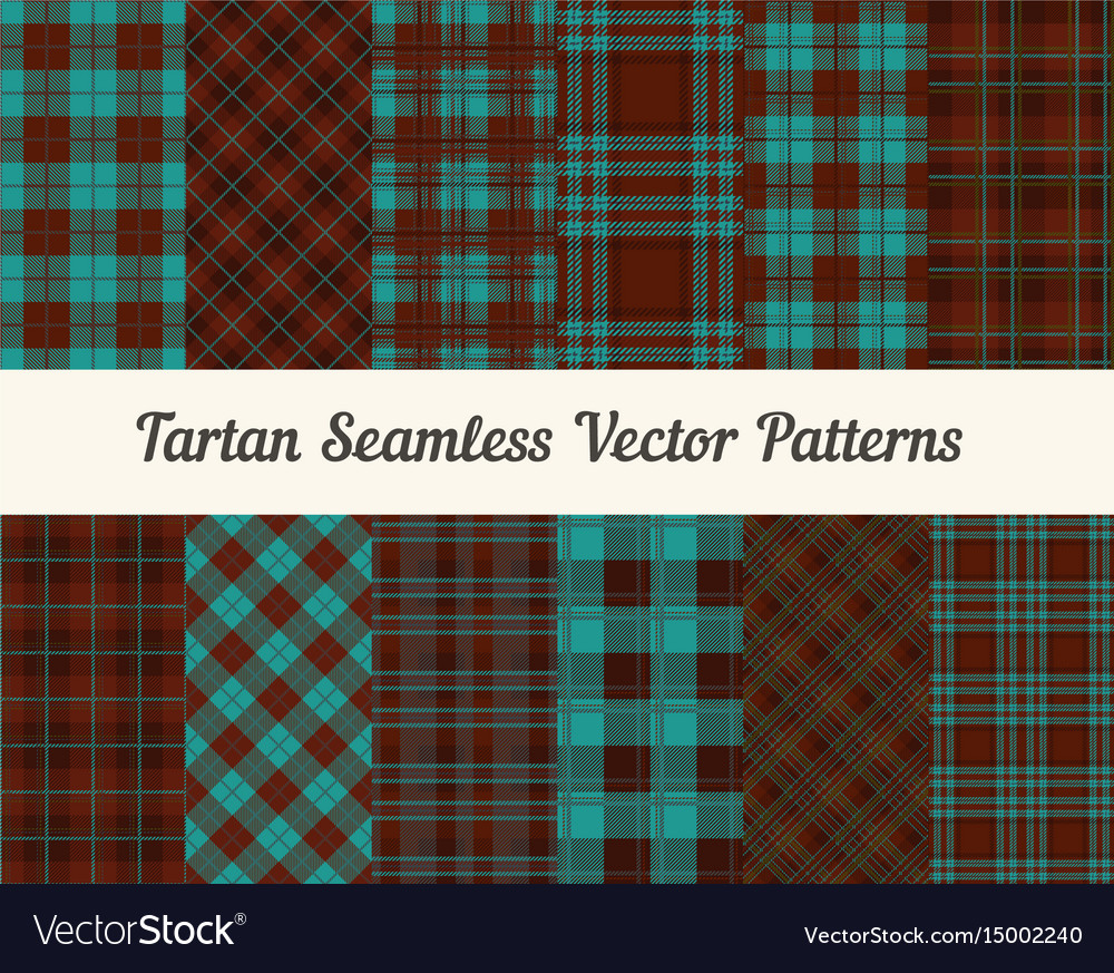 Tartan seamless patterns in brown and blue