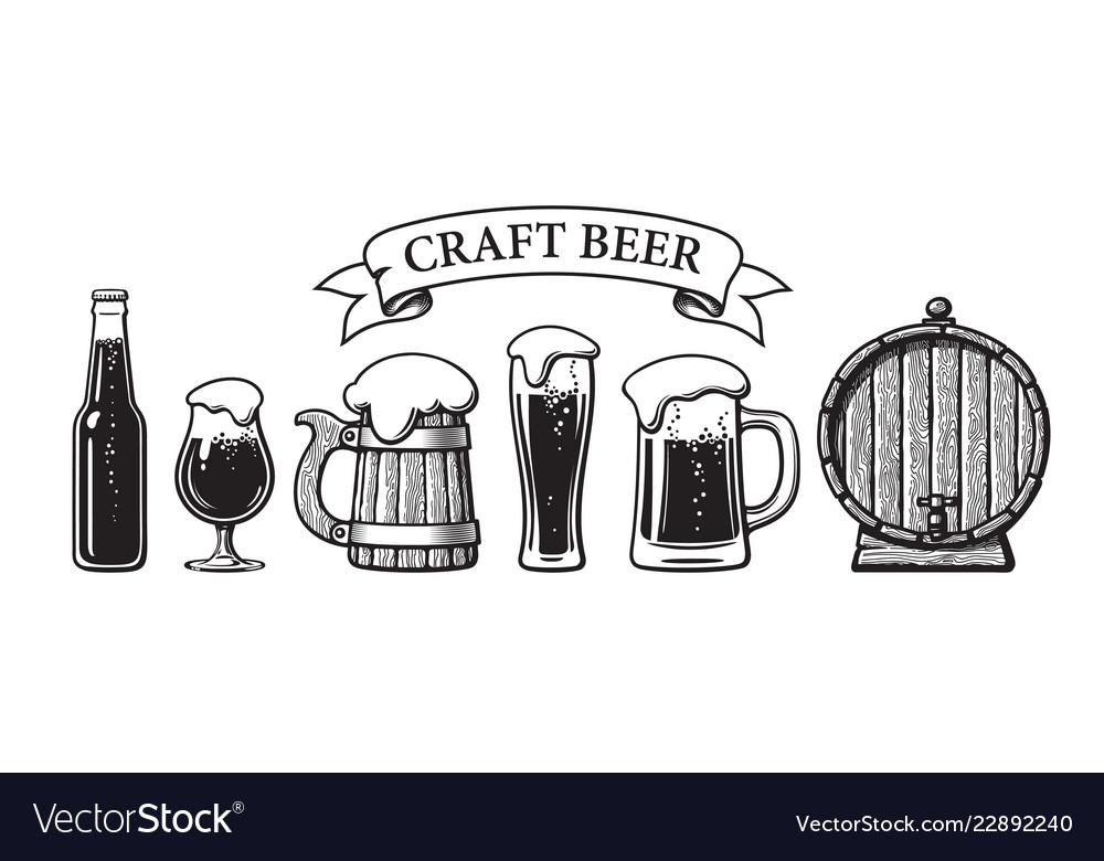 Vintage set of craft beer objects bottle glasses