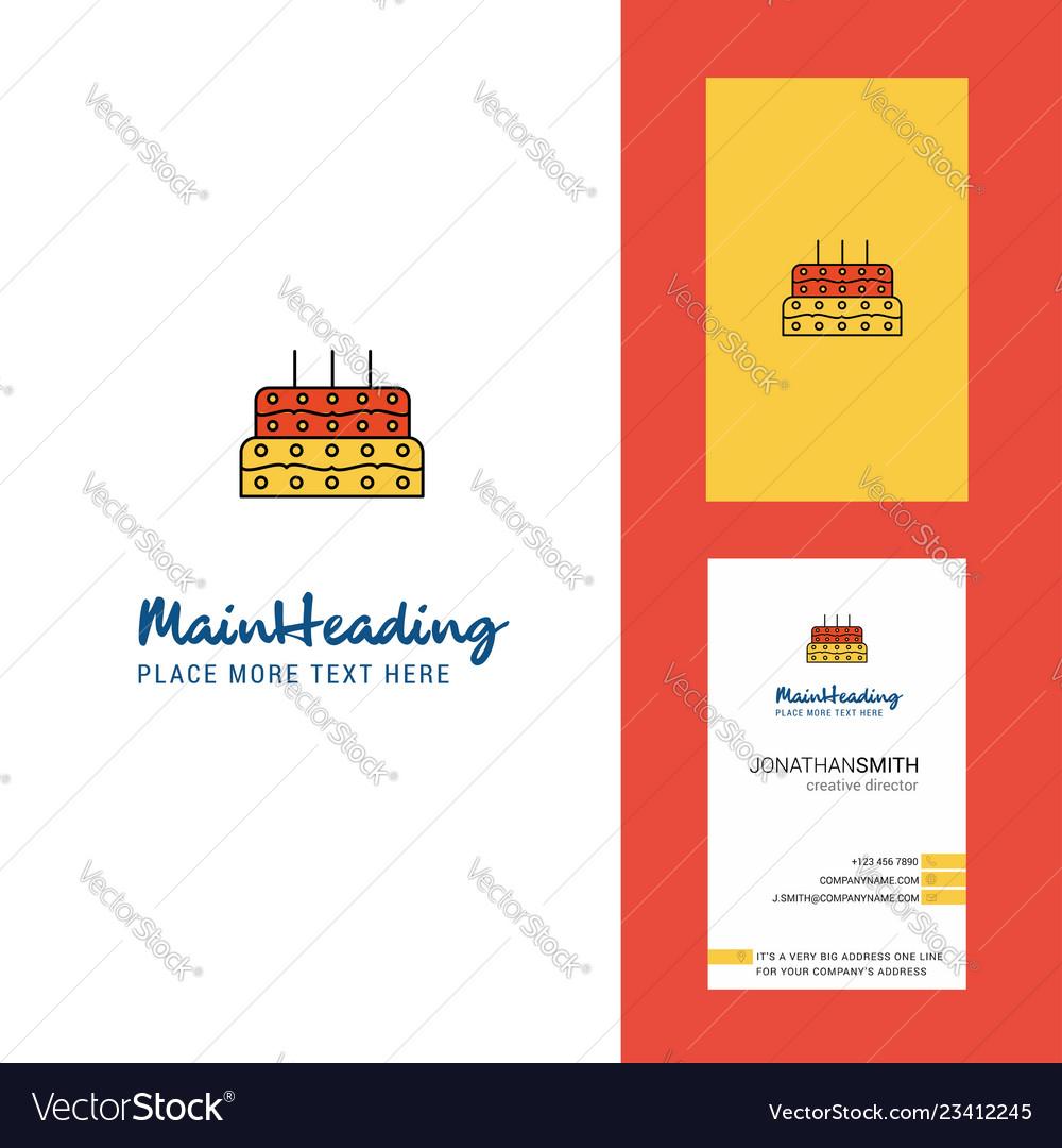 Birthday Cake Creative Logo And Business Card Vector Image