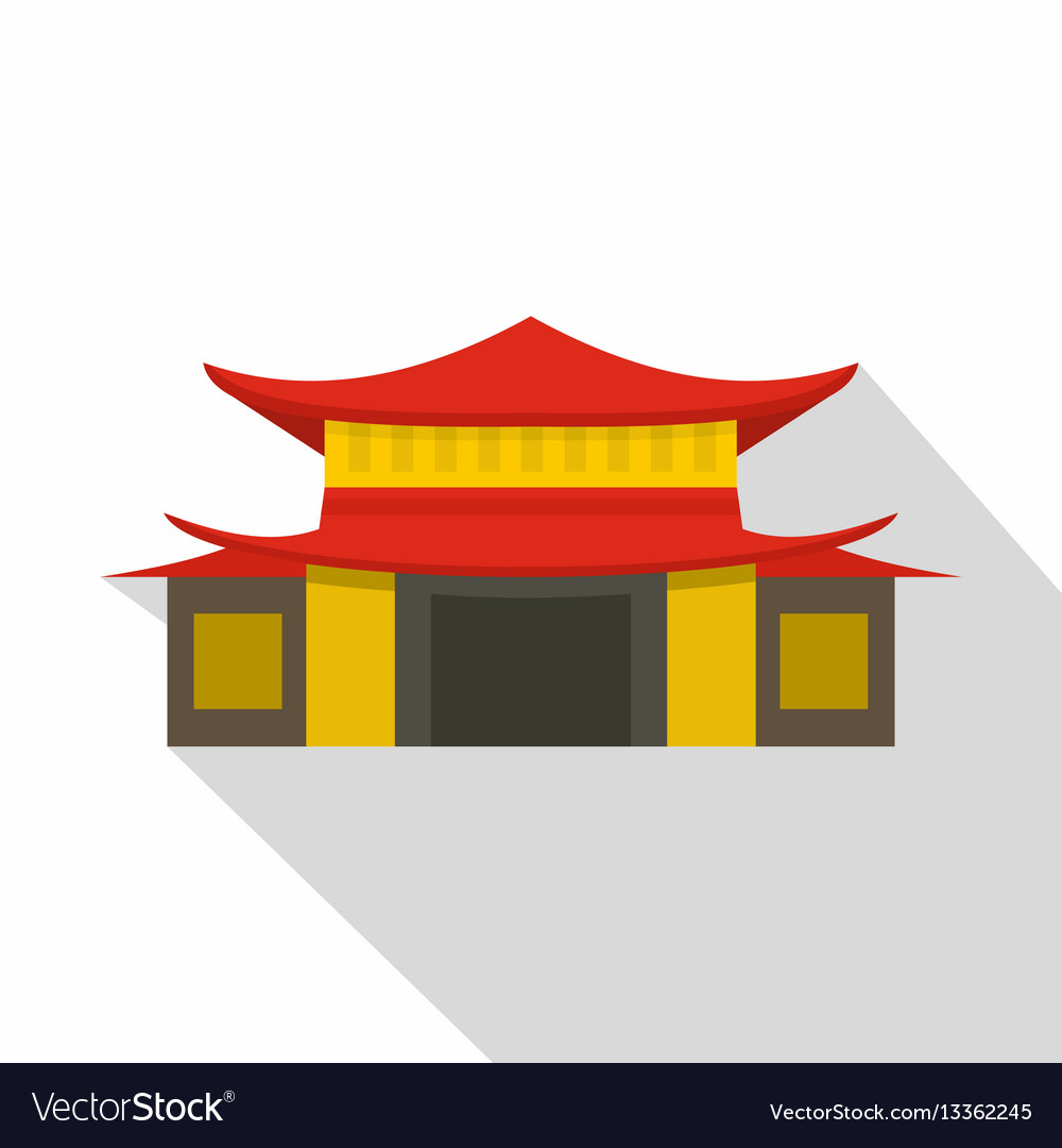 Chinese temple icon flat style