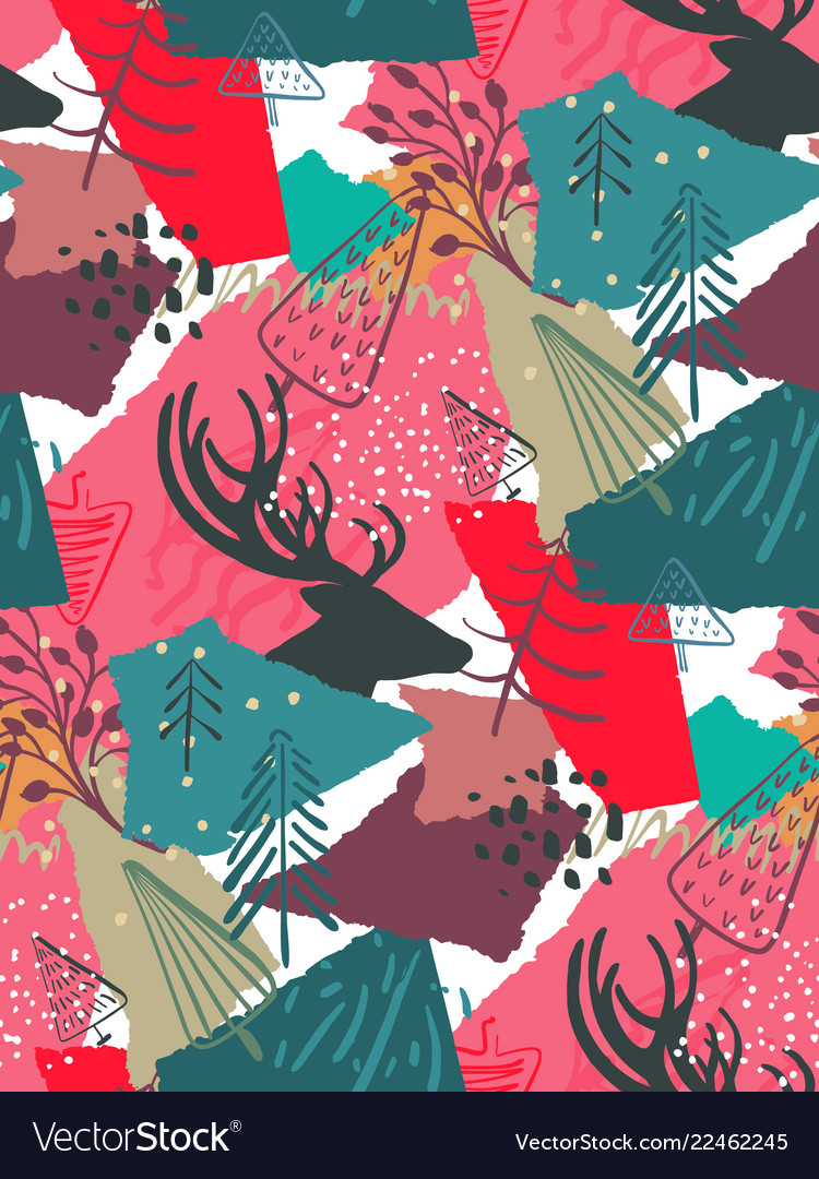 Christmas seamless pattern with colorful