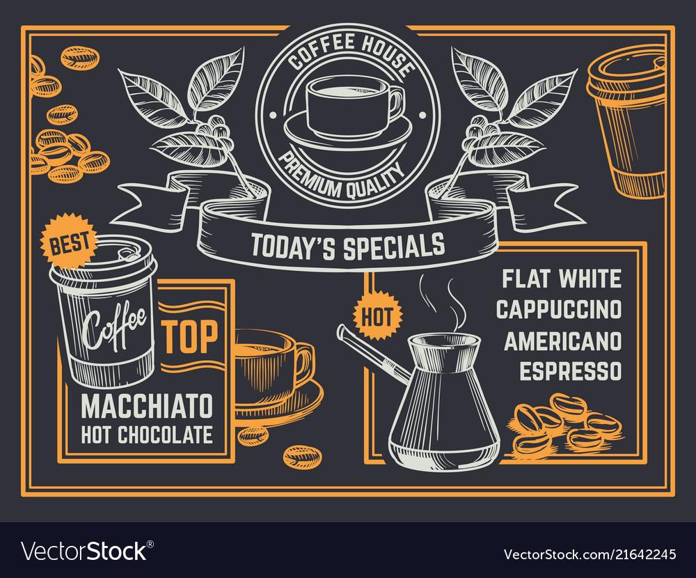 Coffee menu vintage hand drawn coffeeshop flyer