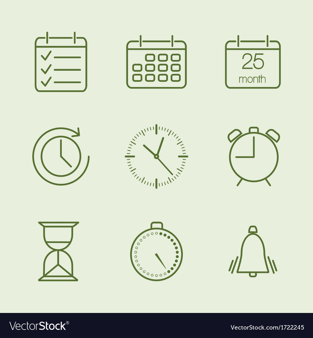 Contoured time and calendar icons vector image