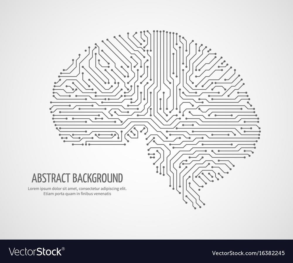 Digital human brain with computer circuit board vector image