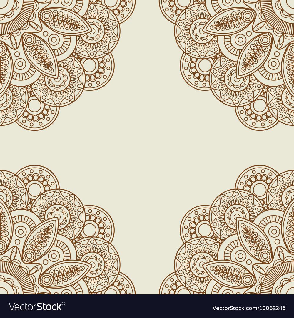 Doodle Boho Floral Henna Tattoo Frame Royalty Free Vector