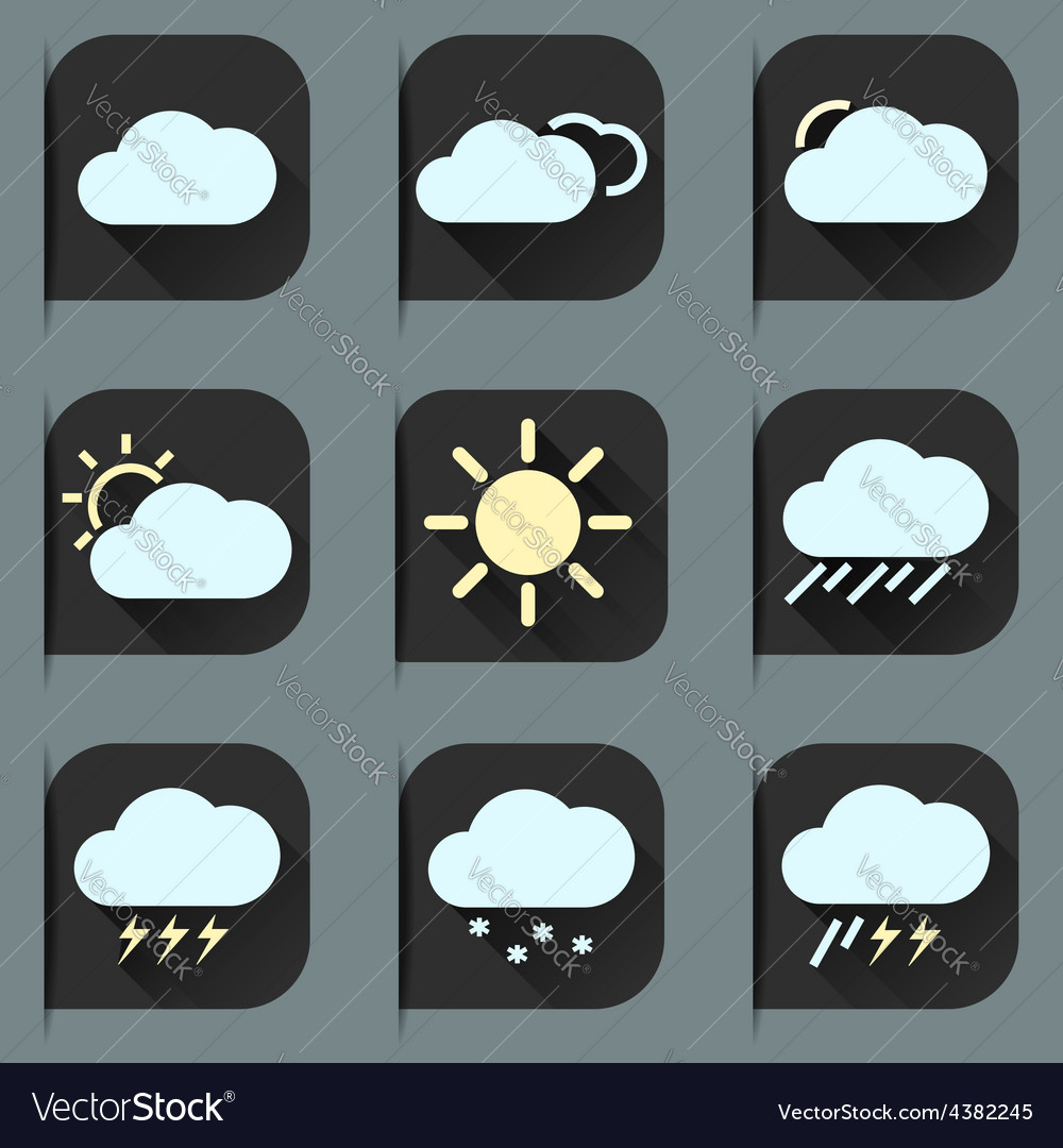 Flat design style weather icons and stickers set vector image