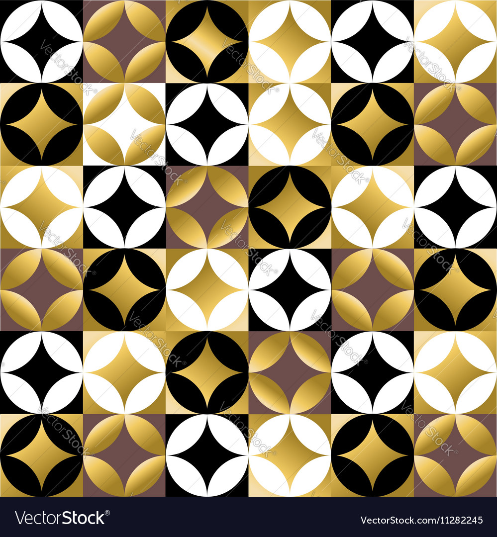 Gold mosaic tile seamless pattern in vintage style vector image