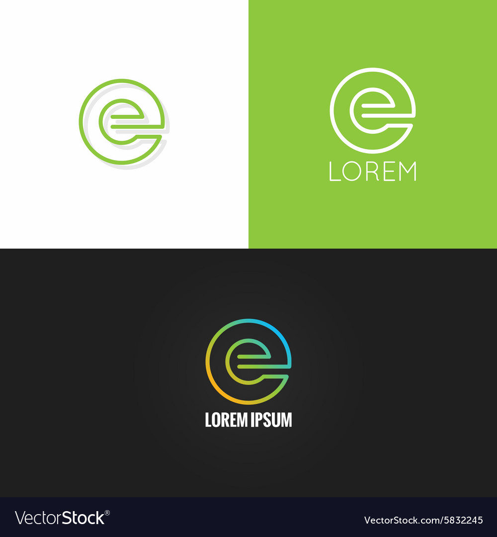 Letter E logo alphabet design icon set background vector image
