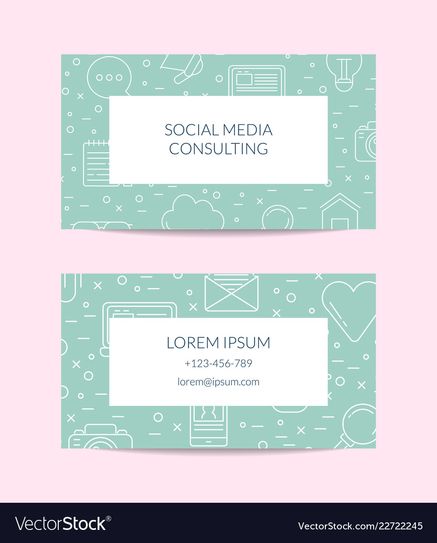 Line blog icons business card isolated