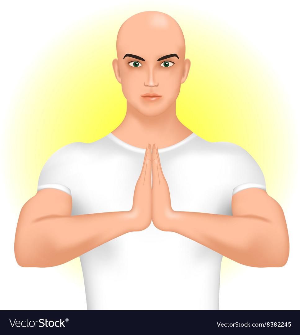 Man Greeting Namaste Royalty Free Vector Image