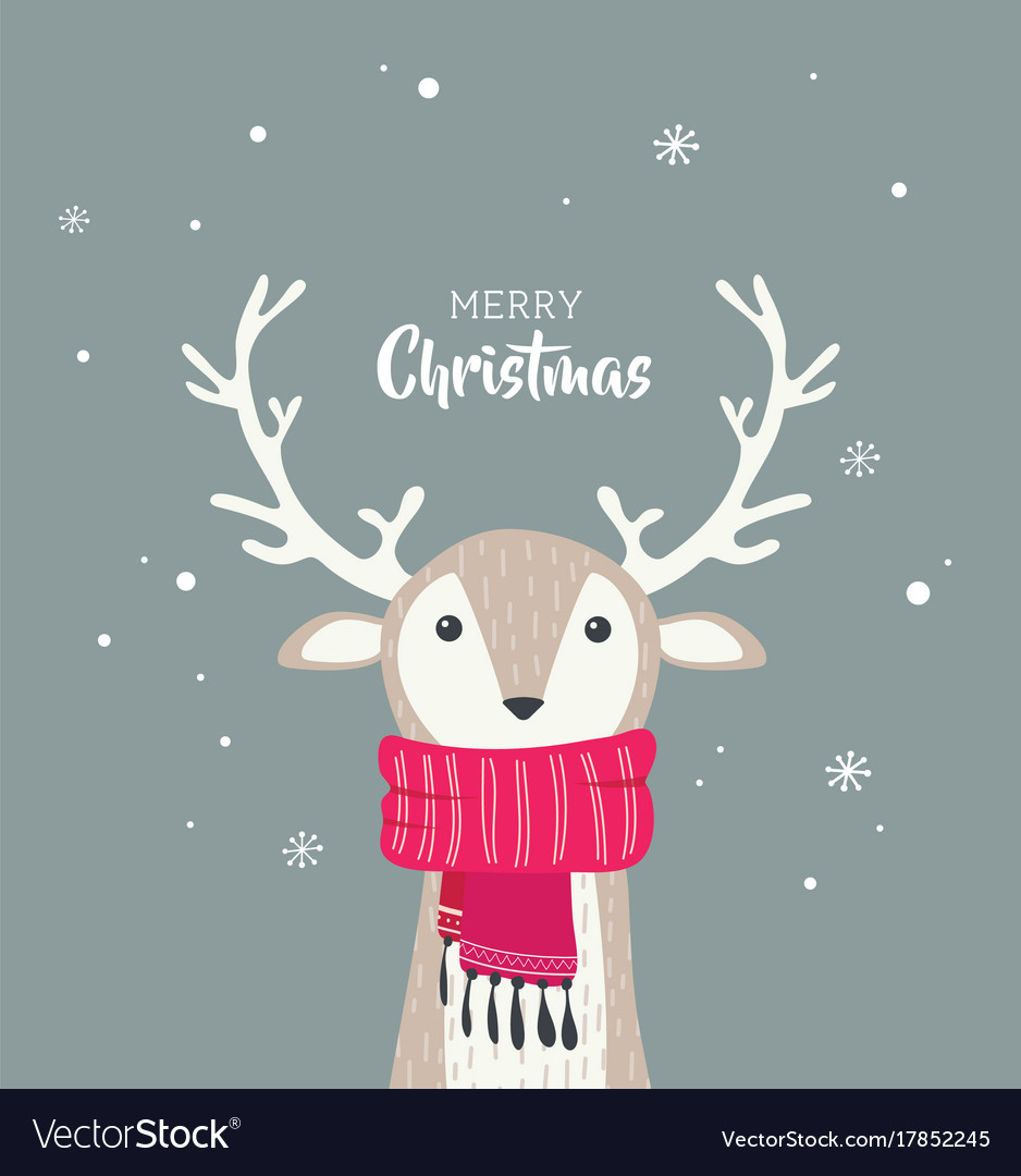 merry christmas card with cute dear wearing a vector image vectorstock