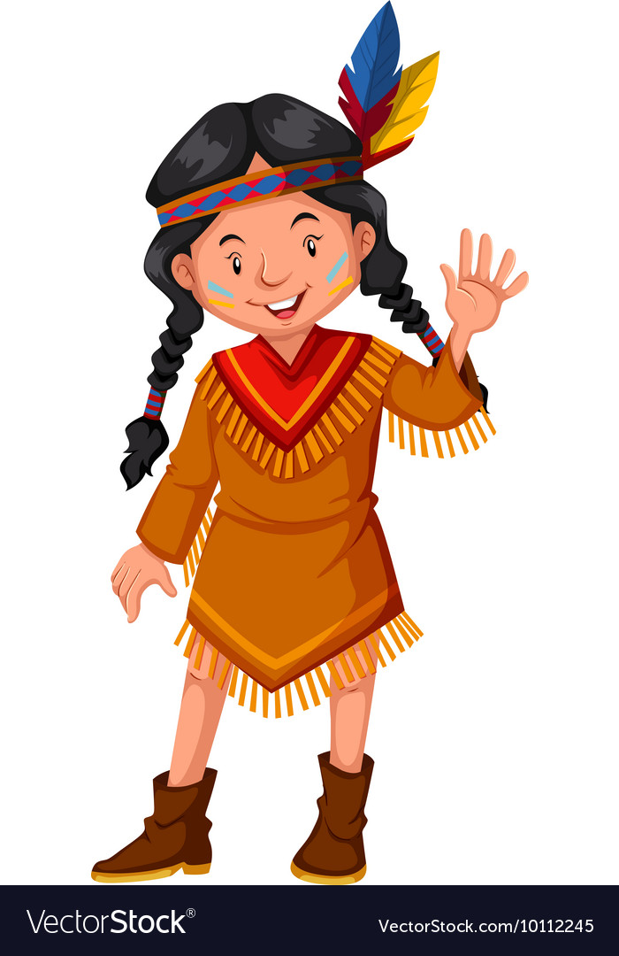 Native american indian girl waving hello vector image m4hsunfo