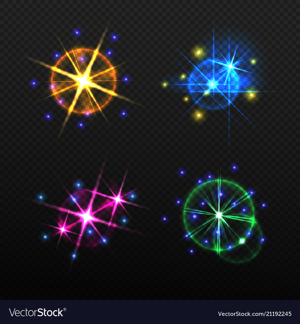 Set of glow light effects isolated