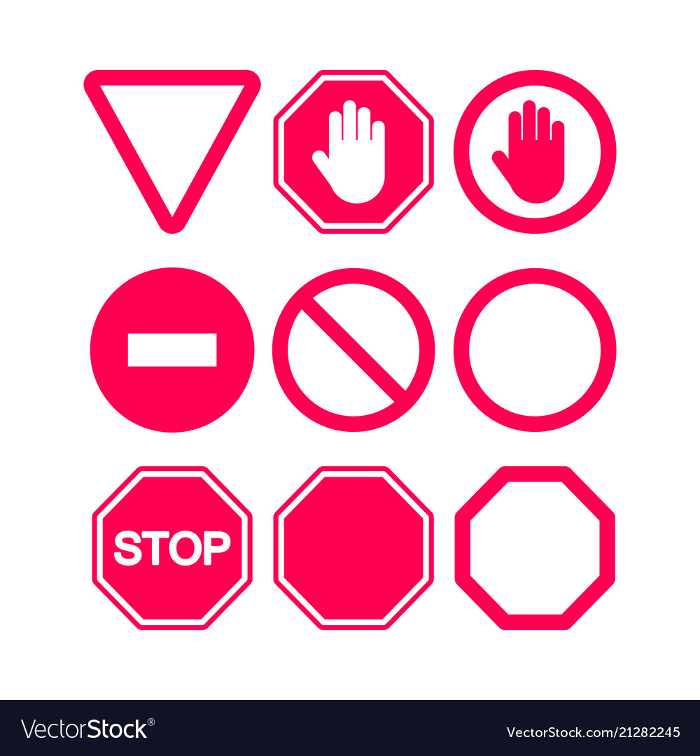 Stop signs set in red and white flat style