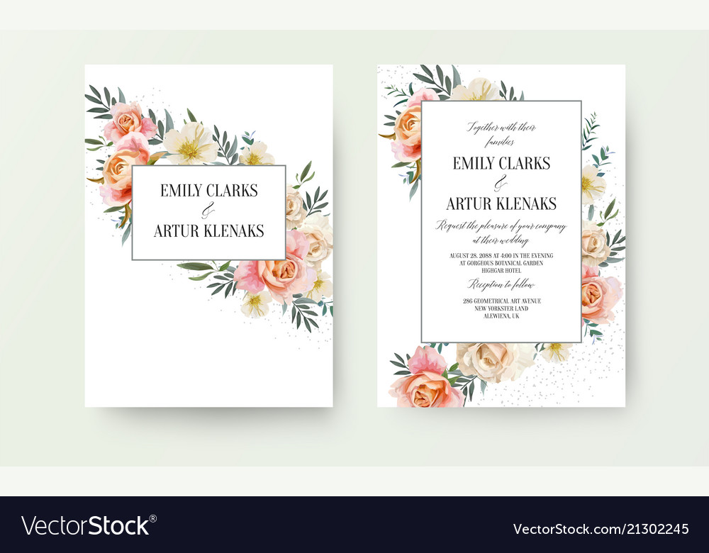 Wedding floral invite invitation card design