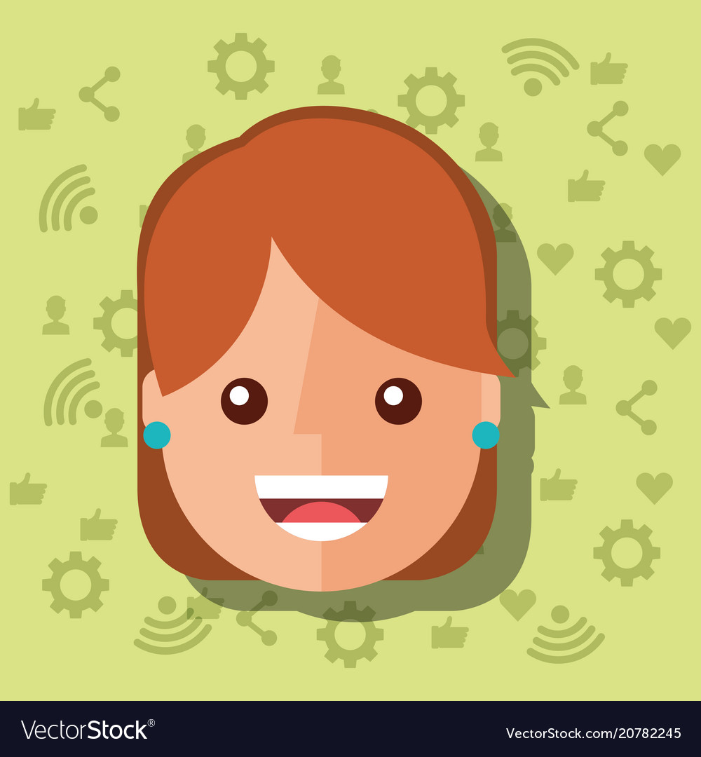 Woman face with social media networks icons