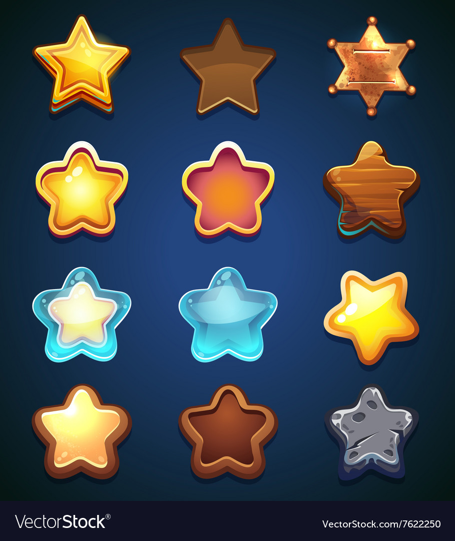 Collection star icons in different style