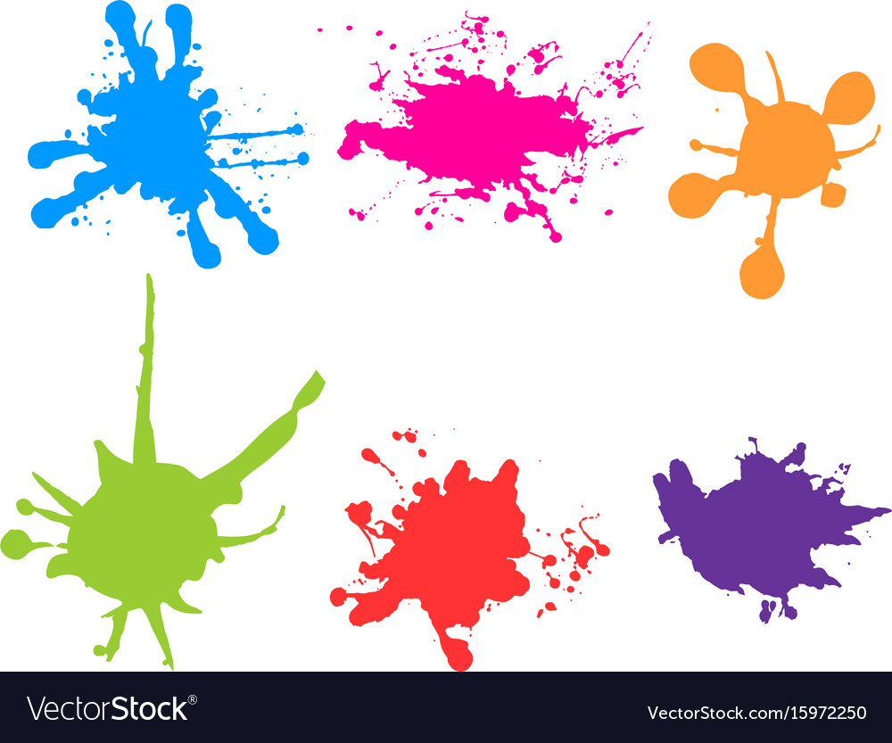 color paint splatter paint splashes set royalty free vector rh vectorstock com paint splatter vector illustrator free paint splatter vector background free