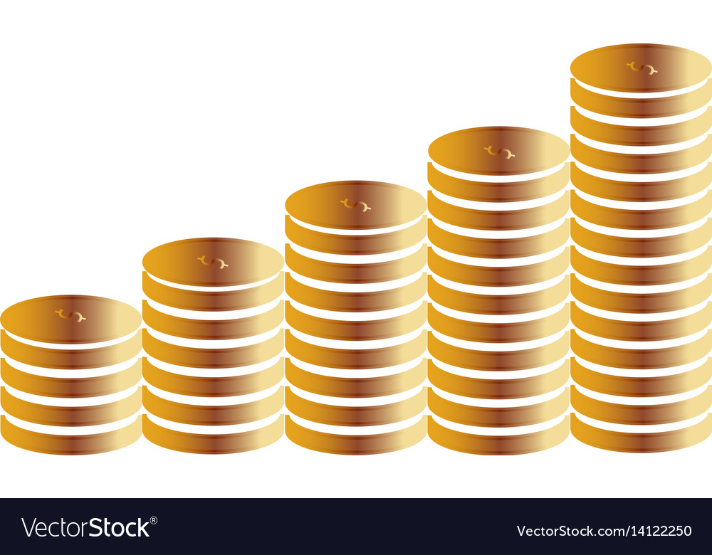 Columns Of Gold Coins On A White Background