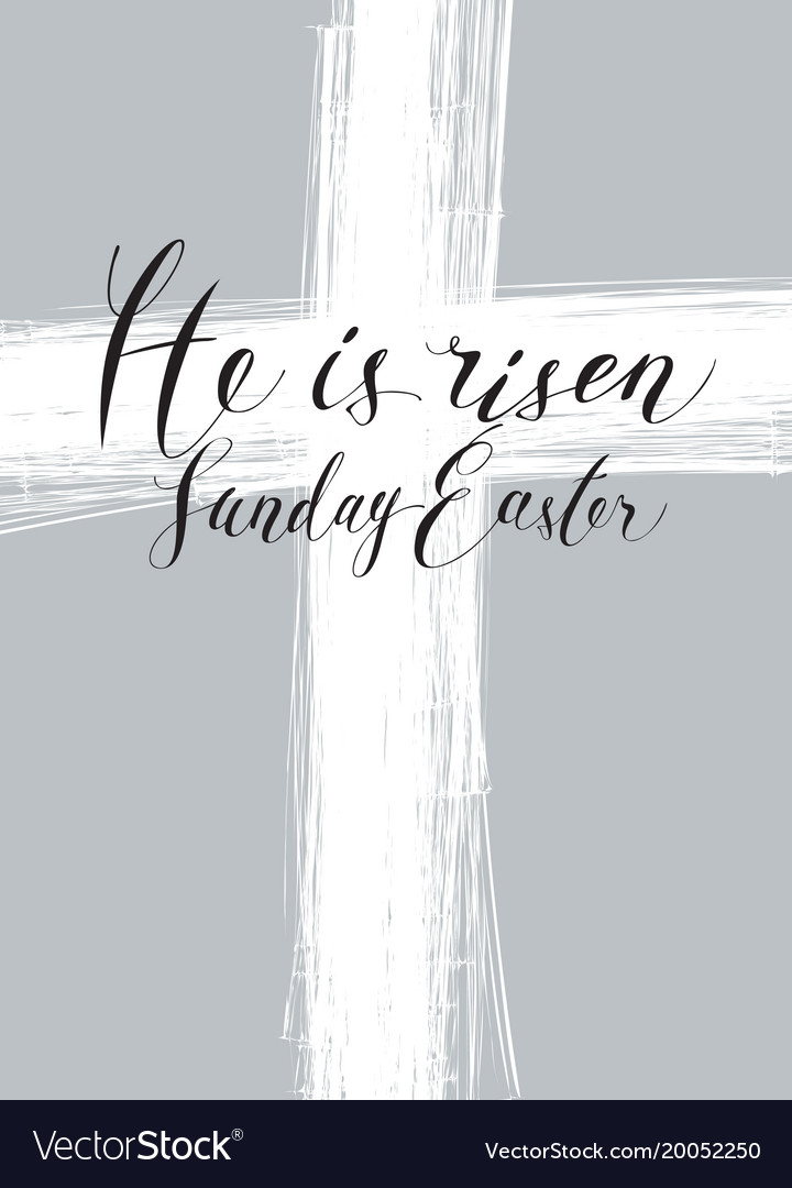 Easter banner with cross and inscription vector image