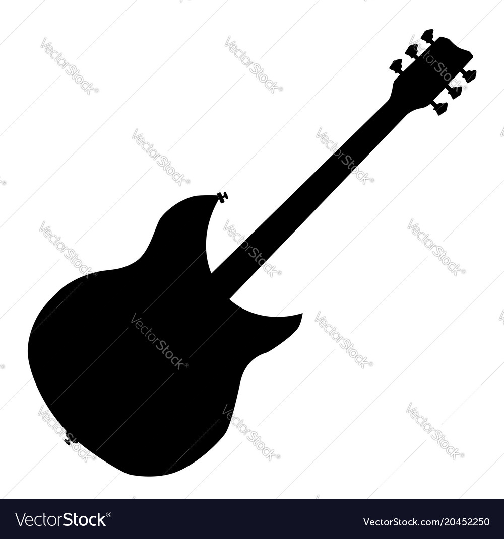 electric guitar silhouette royalty free vector image rh vectorstock com guitar man silhouette vector guitar player silhouette vector