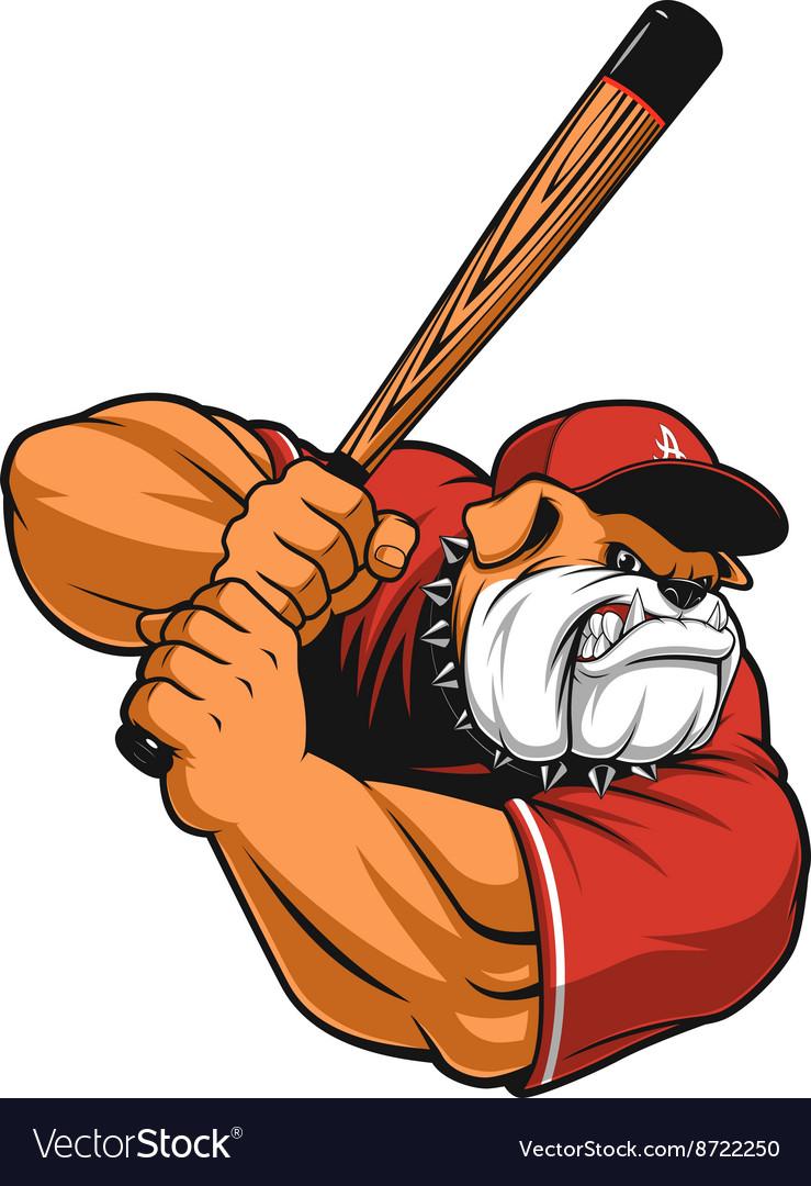 Ferocious Bulldog ballplayer vector image