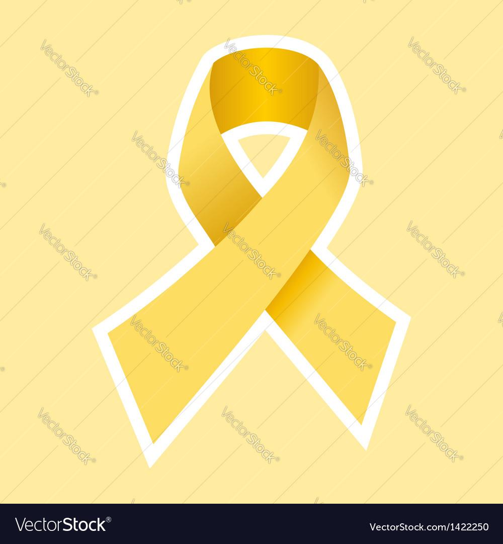 Gold Cancer Ribbon vector image