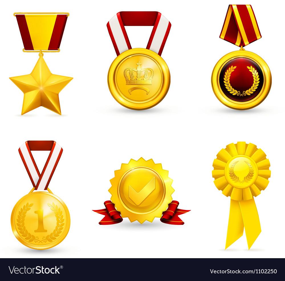 Gold medal set vector image