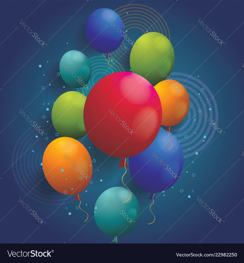 Holiday background with balloons and geometric