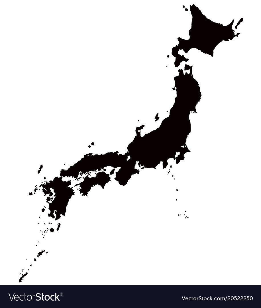 Japan map outline Royalty Free Vector Image   VectorStock