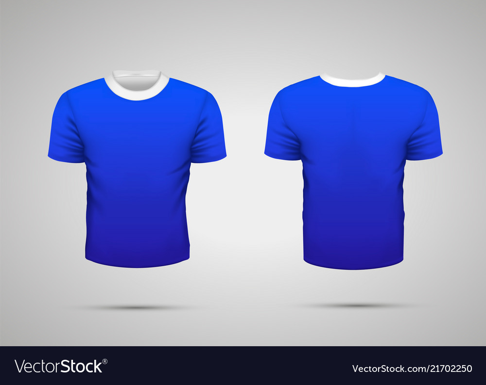 Mockup of blank blue realistic sport t-shirt with