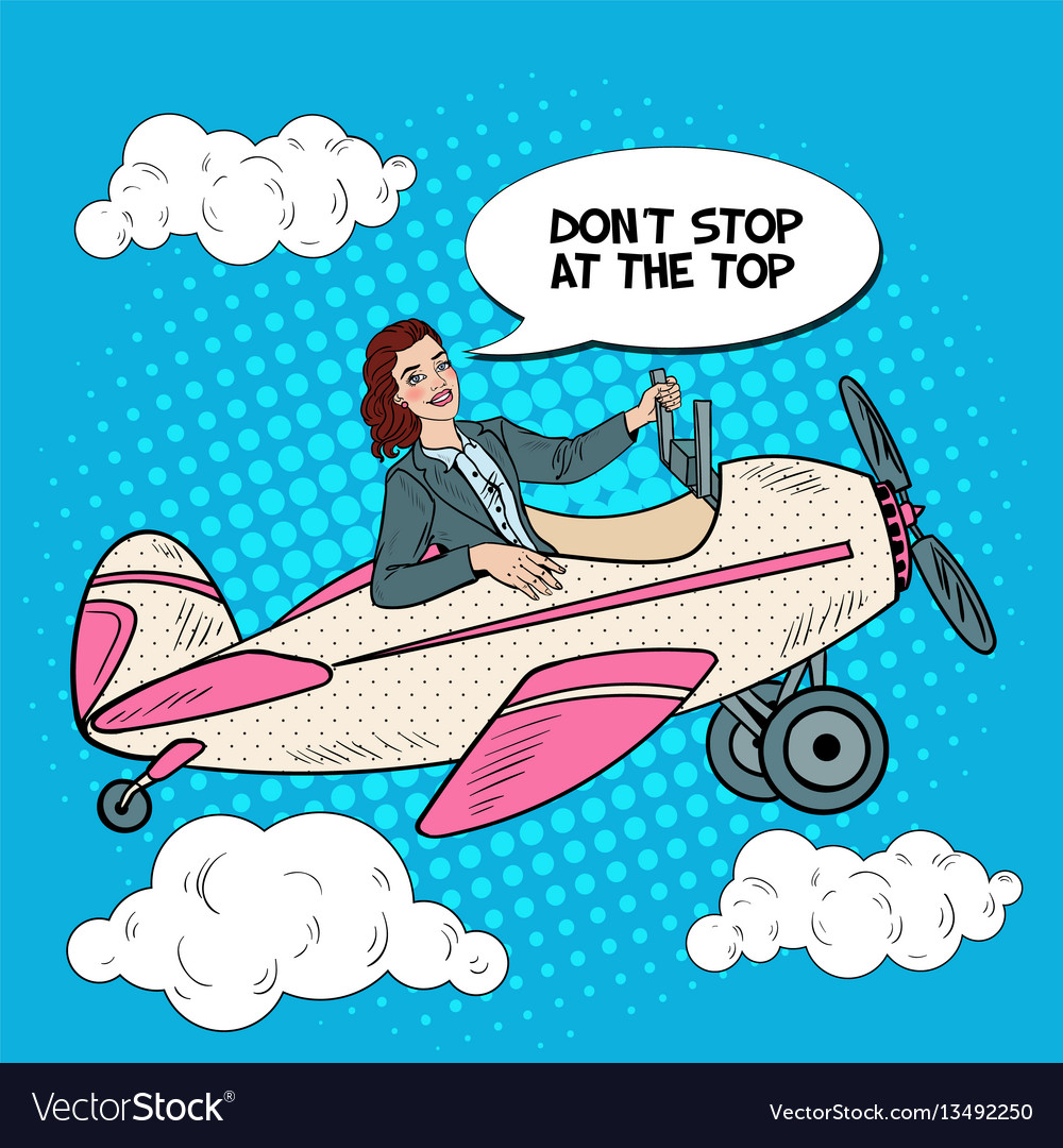 Pop art successful woman riding vintage airplane